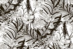 Vector Seamless Pattern with Drawn Flowers and Leaves. Vector Black Decorative Seamless Background Pattern with Drawn Flowers and Leaves, Orchid, Cherry Blossom Royalty Free Stock Photos