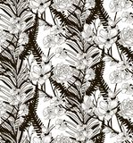 Vector Seamless Pattern with Drawn Flowers and Leaves. Vector Black Decorative Seamless Background Pattern with Drawn Flowers and Leaves, Orchid, Cherry Blossom Stock Image