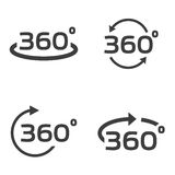 Vector black 360 Degrees icons set. On white background. Geometry math symbol. Full rotation Stock Images