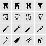 Vector black dental icon set Royalty Free Stock Images