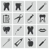 Vector black dental icons Stock Images