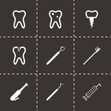 Vector black dental icons set. On black background Royalty Free Stock Photography
