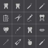 Vector black dental icons set Royalty Free Stock Photos