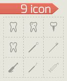 Vector black dental icons set Stock Images