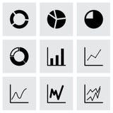 Vector black diagram icon set Stock Photos