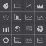 Vector black  diagram icons set Stock Photos