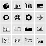 Vector black diagrams icon set. On grey background Royalty Free Stock Images