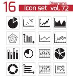 Vector black diagrams icons Royalty Free Stock Image