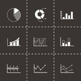 Vector black diagrams icons set. On black background Royalty Free Stock Image