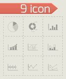 Vector black diagrams icons set. On grey background Stock Photo