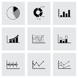 Vector black diagrams icons set. On grey background Royalty Free Stock Images