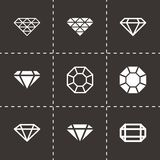Vector black diamond icon set Stock Images