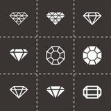 Vector black diamond icon set. On black background Stock Images