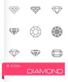 Vector black diamond icon set Royalty Free Stock Image