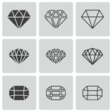 Vector black diamond icons set Royalty Free Stock Images