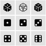 Vector black dice icon set Royalty Free Stock Images