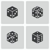 Vector black dice icons set Stock Images