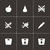 Vector black diet icon set Stock Image