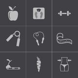 Vector black diet icons set. This is file of EPS10 format Royalty Free Stock Photo