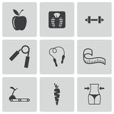 Vector black diet icons set Royalty Free Stock Photo