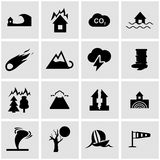 Vector black disaster icon set Stock Image