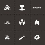 Vector black disaster icons set Stock Photo