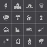 Vector black  disaster icons set Stock Photos