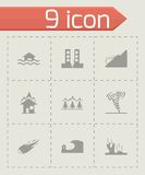 Vector black disaster icons set. On grey background Stock Photo
