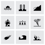 Vector black disaster icons set Stock Photography