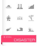 Vector black disaster icons set. On white background Royalty Free Stock Images