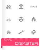 Vector black disaster icons set Royalty Free Stock Image