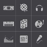 Vector black dj icons set Royalty Free Stock Images