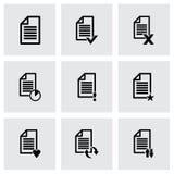 Vector black document icon set. On grey background Stock Photos