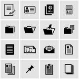 Vector black document icon set Stock Photo