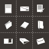 Vector black document icons set. On black background Royalty Free Stock Images