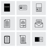 Vector black document icons set Royalty Free Stock Image