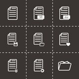 Vector black documents icon set. On black background Royalty Free Stock Photography