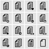 Vector black documents  icon set. On grey background Stock Photo