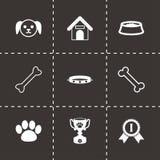 Vector black dog icon set. On black background Royalty Free Stock Photography