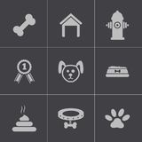 Vector black dog icons set Royalty Free Stock Image