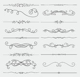 Vector Black Doodle Hand Drawn Swirls Collection. Set of Black Hand Drawn Rustic Doodle Design Elements. Decorative Floral Swirls, Scrolls, Text Frames, Dividers Royalty Free Stock Photo