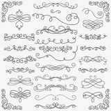 Vector Black Doodle Hand Drawn Swirls Collection. Set of Black Hand Drawn Rustic Doodle Design Elements. Decorative Swirls, Scrolls, Text Frames, Dividers Stock Images