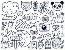 Vector black doodles Stock Images