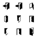 Vector black door icon set Stock Images