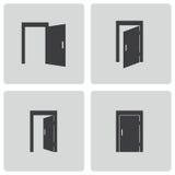 Vector black door icons set Royalty Free Stock Photo