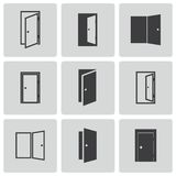 Vector black door icons set Royalty Free Stock Images