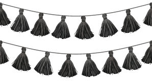 Vector Black Double Hanging Decorative Tassels With Ropes Horizontal Seamless Repeat Border Pattern. Great for tribal Royalty Free Stock Image