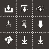 Vector black download icon set. On black background Stock Image