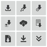 Vector black download icons set Stock Image