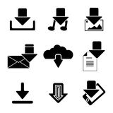 Vector black download icons set Royalty Free Stock Photos